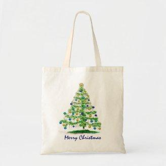 Abstract Christmas Tree Art with Ornaments Canvas Bags