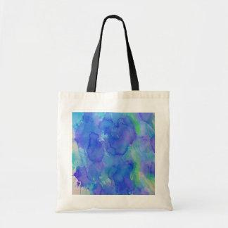 Abstract Watercolor Blue, Emerald, Green, Violet Tote Bags