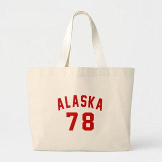 Alaska 78 Birthday Designs Large Tote Bag