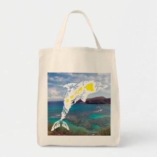 Aloha Hawaii Islands Dolphin Canvas Bag