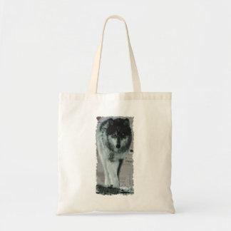 Alpha Male Stalking Timber Wolf Wildlife Art Tote Bags