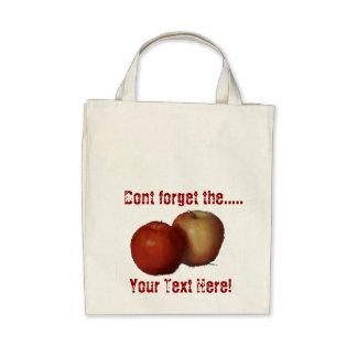 Apples grocery tote canvas bag