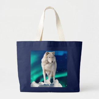 Arctic Wolf, Aurora & Stars Tote Bag Collection