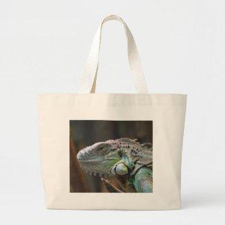 Bag with head of colourful Iguana lizard