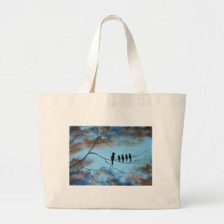 Birds In Tree In Sky Mother's Day Abstract Art Canvas Bag