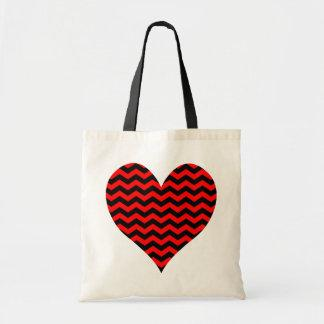 Black and Red Chevron Heart Bag