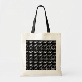 black and white bicycles patterning canvas bags