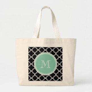 Black Quatrefoil Pattern, Mint Green Monogram Bags