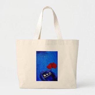 Blue Furry Love with Balloons Tote Bags