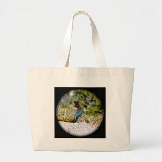 BLUE JAY BIRD IN SPRING CANVAS BAGS