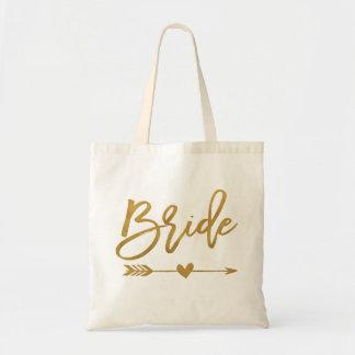 Bride faux gold foil with narrow and heart tote bag