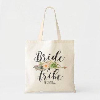"""Bride Tribe"" Floral,Feather Arrow Personalize Tote Bag"