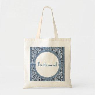 Bridesmaid Bag - Denim Blue Vintage Art Deco Frame