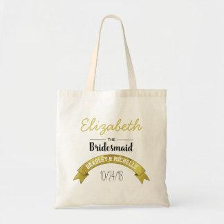 BRIDESMAID WEDDING TOTE BAG | GOLD GLAMOUR