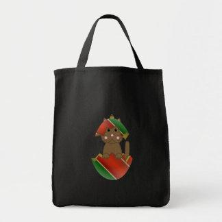 Brown Kitty In A Christmas Ornament Tote Bag