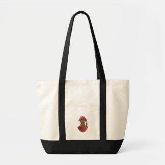 Brown Kitty In A Red Christmas Ornament Canvas Bags