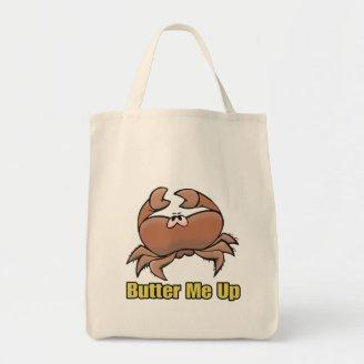 butter me up silly sad crab cartoon tote bags