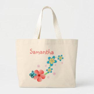 Butterfly on Pink and Blue Flowers Jumbo Tote Bag Tote Bag
