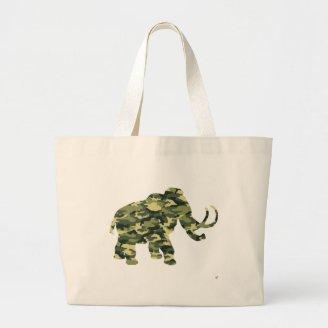 Camouflage Wolley Mammoth Silhouette Tote Bag