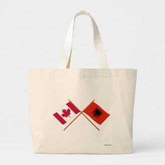 Canada and Albania Crossed Flags Tote Bags