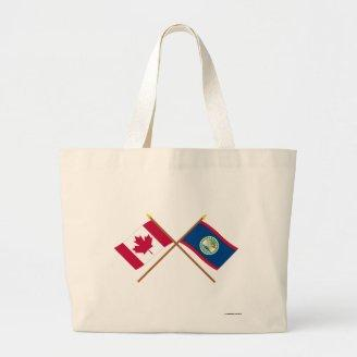 Canada and Belize Crossed Flags Bags