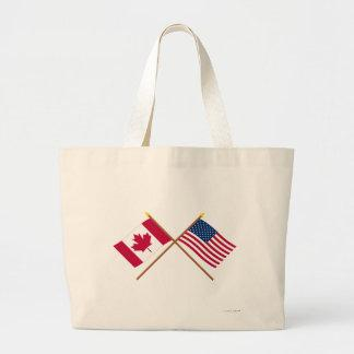 Canada and United States Crossed Flags Bags
