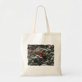 Cardinal in the Snow 2 Canvas Bags