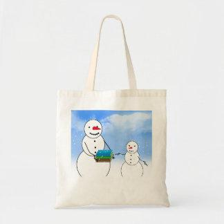 Cartoon Snowmen Going Back to School Canvas Bags