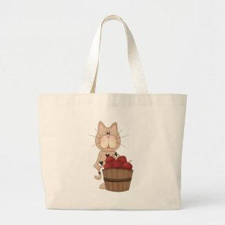 Cat with apples bag