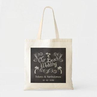 Chalkboard Our Beach Wedding Tote Bags