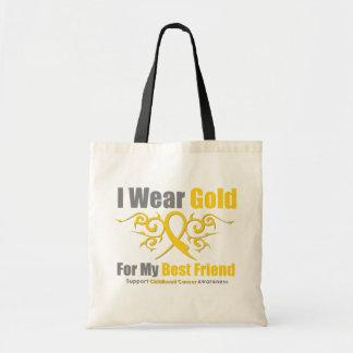 CHILDHOOD CANCER Gold Tribal Ribbon Best Friend Canvas Bag