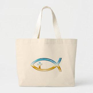 Christian Fish Symbol with Crucifix - Sky & Ground Canvas Bag