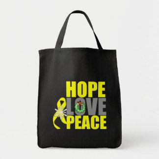 Christmas Holiday Hope Love Peace Bladder Cancer Canvas Bag