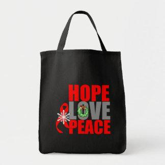 Christmas Holiday Hope Love Peace Blood Cancer Tote Bag