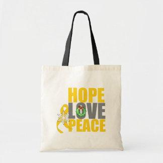 Christmas Holiday Hope Love Peace Childhood Cancer Canvas Bag