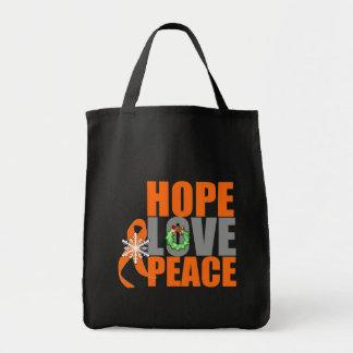 Christmas Holiday Hope Love Peace Kidney Cancer v1 Canvas Bags