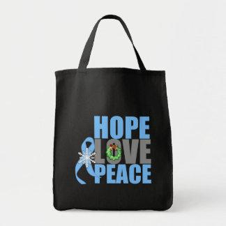 Christmas Holiday Hope Love Peace Prostate Cancer Bag