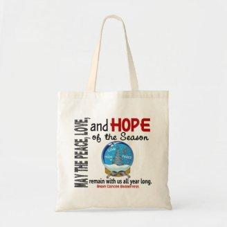 Christmas Holiday Snow Globe 1 Brain Cancer Tote Bags