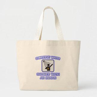 Conserve Water .. Shower With an Indian Tote Bag