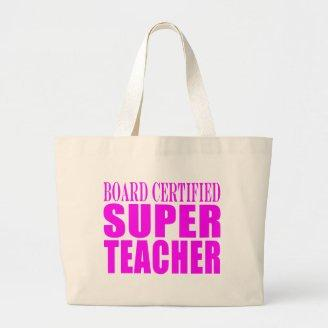 Cool Pink Gifts for Teachers : Super Teacher Canvas Bags