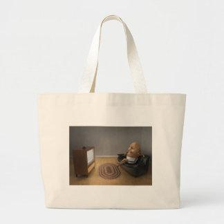 Couch Potato watching T.V. Tote Bags
