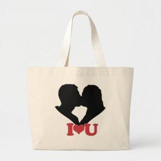 Couple Kissing Silhouette with I♥U Text Tote Bag