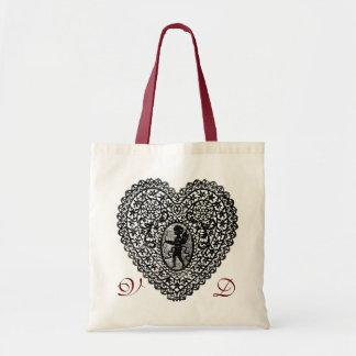 CUPID LACE HEART BLACK AND WHITE PINK RED MONOGRAM BAG
