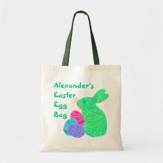 Custom Green Easter Bunny And Eggs Fun Canvas Tote Canvas Bag