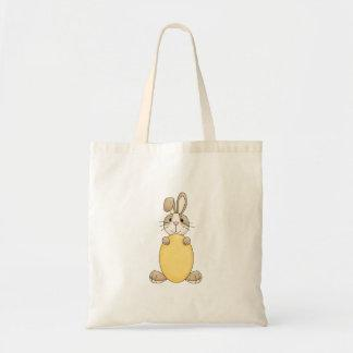 cute easter bunny with yellow egg canvas bag