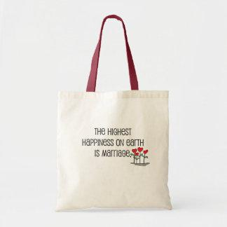 """Cute, """"Happiness is Marriage"""" quote Canvas Bag"""