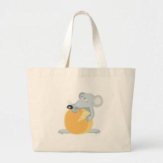 cute mouse protecting cheese bags