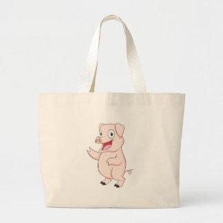 Cute Pig Hand Up Showing Something Holding Bags