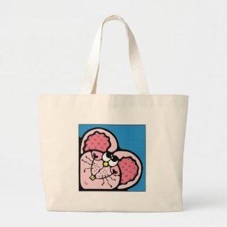 cute pink valentine mouse canvas bag