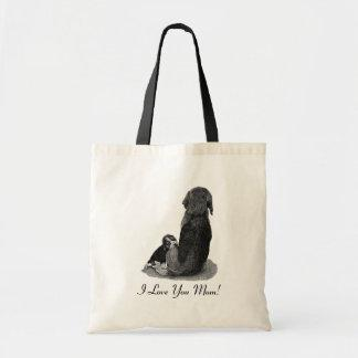Cute puppy beagle with mom dog realist art bag